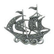 Sterling Silver Marcasite Ship Brooch